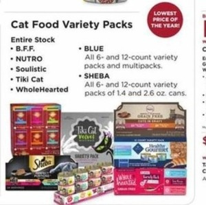 Cat Food Variety Packs - B.F.F.,Nutro, Soulistic, Tiki, WholeHeated, Blue, Sheba