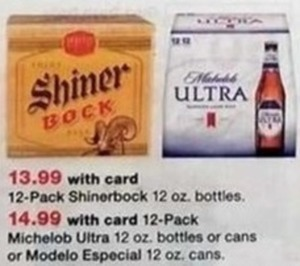 12 Pack Micehlob Ultra 12 oz bottle/cans or Modelo Especial 12 oz. Cans w/ Card
