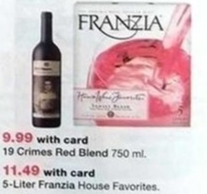 Franzia House Favorites 5 Liter Wine w/Card