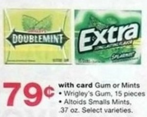Gum or Mints-Wrigleys Gum and Altoids Small Mints w/Card