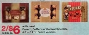 Ferrero, DeMet's, or Godiva Chocolate w/Card
