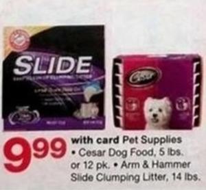 Pet Supplies - Cesar Dog Food or Arm & Hammer Side Clumping Litter