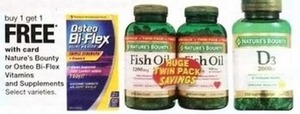 Nature's Bounty or Osteo Bi-Flex Vitamins and Supplements w/Card