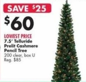 7.5' Telluride Prelit Cashmere Pencil Tree