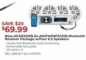 Boss MCK632WB.64 AM/FM/MP3/USB Bluetooth Receiver Package with Four 6.5 Speakers