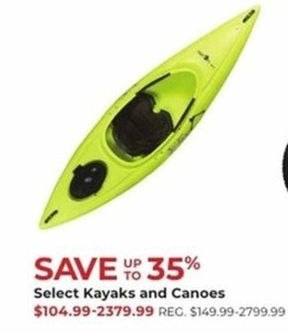 Select Kayaks and Canoes