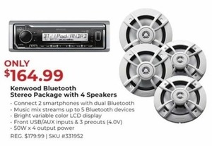 Kenwood Bluetooth Stereo Package w/ 4 Speakers