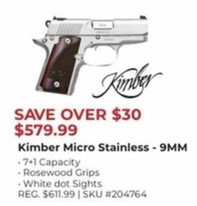 Kimber Micro Stainless 9MM Handgun