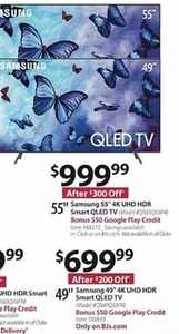 "Samsung 55"" 4K UHD HDR Smart QLED TV - Bonus $50 Google Play Credit"