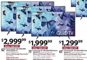 "Samsung 65"" 4K UHD HDR Smart QLED TV w BONUS $50 Google Play Credit"