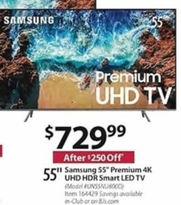 "Samsung 55"" Premium 4K UHD HDR Smart LED TV"
