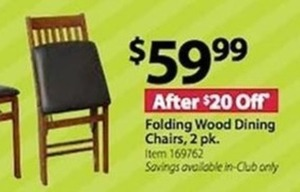 Folding Wood Dining Chairs 2 Pk.