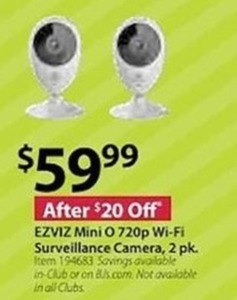 EZVIZ Mini O 720p Wi-FI Surveillance Camera 2 pk.