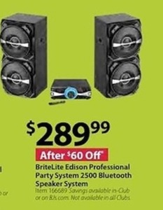 BriteLite Edison Professional Party System 2500 Bluetooth Speaker System