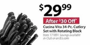 Cucina Vita 34 Pc. Cutlery Set w/ Rotating Block