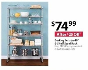 "Berkley Jensen 48"" 6-Shelf Steel Rack"