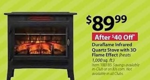 Duraflame Infrared Quartz Stove With 3D Flame Effect