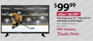 "Westinghouse 32"" 720p LED HDTV w/ Built-in DVD Player"