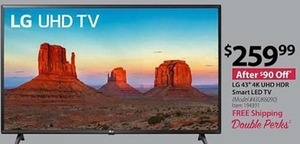"LG 43"" 4K UHD HDR Smart LED TV - Free Shipping"