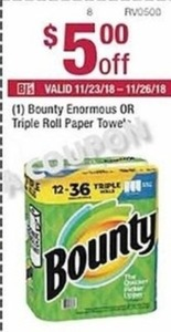 Bounty Enormous or Triple Roll Paper Towel Coupon