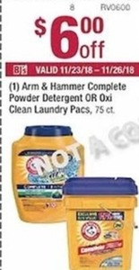 Arm Hammer Complete Powder Detergent or Oxi Clean Laundry Pacs Coupon