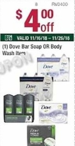 Dove Bar Soap or Body Wash Items