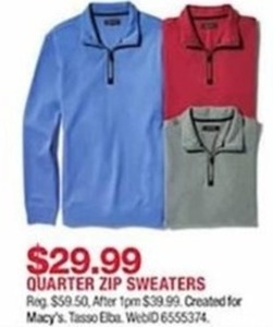 Created for Macy's Quarter Zip Sweaters