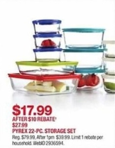 Pyrex 22-Pc. Storage Set - After Rebate
