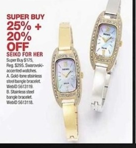 Seiko For Her Swavorski-Accented Watches, Gold-Tone Stainless Steel