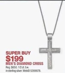 Men's 1/2 ct. t.w. Diamond Cross Sterling Silver