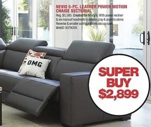 Nevio 5-Pc. Leather Power Motion Chaise Sectional with Power Recliner