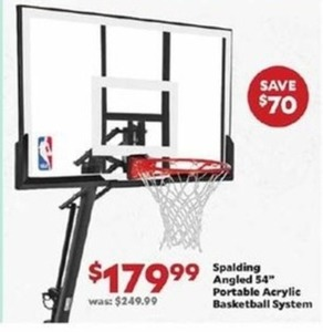 "Spalding Angled 54"" Portable Acrylic Basketball System"