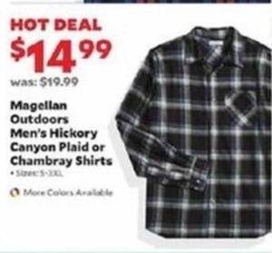 Magellan Outdoors Men's Hickory Canyon Plaid or Chambray Shirts