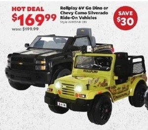 Rollplay 6V Go Dino or Chevy Camo Silverado Ride-On Vehicles