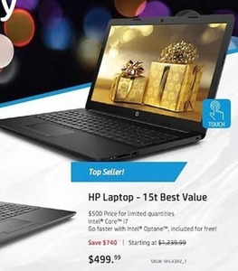 HP 15t Laptop w/ Intel Core i7 CPU
