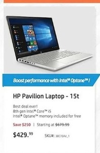 HP Pavilion 15t Laptop w/ 8th Gen Intel Core i5 CPU