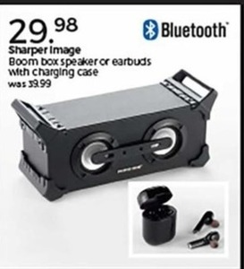 Sharper Image Boom Box Speaker or Earbuds With Charging Case