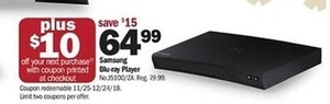 Samsung Blu-ray Player + $10 Off Your Next Purchase