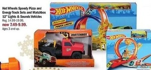 "Hot Wheels Speedy Pizza and Energy Track Sets and Matchbox 12"" Lights & Sounds Vehicles"
