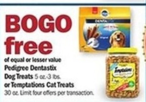 Pedigree Dentastix Dog Treats or Temptations Cat Treats