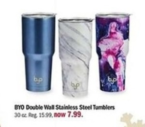 BYO Double Wall Stainless Steel Tumblers