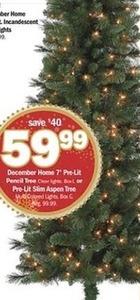December Home 7' Pre-Lit Pencil Tree or Pre-Lit Slim Aspen Tree