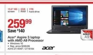 Acer Aspire 3 Laptop w/AMD A9 Processor