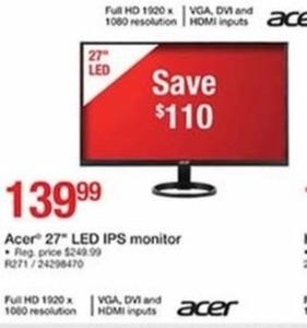 "Acer 27"" Led IPS Monitor"