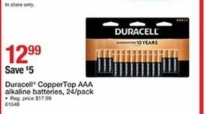 Duracell Copper Top AAA Alkaline Batteries 24 Pack