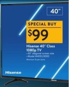 "Hisense 40"" 40EU3000 1080p TV"