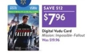 Mission Impossible Fallout Digital Vudu Card
