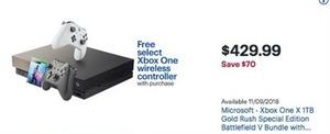 Microsoft Xbox One X TB Gold Rush SE Battlefield V Bundle + Free Controller