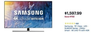 "Samsung - 75"" Class - LED - NU8000 Series - 2160p - Smart - 4K UHD TV w/ HDR"