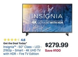 "Insignia - 50"" Class - LED - 2160p - Smart - 4K UHD TV w/ HDR - Fire TV Edition"